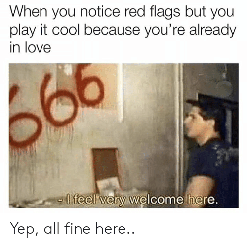 flags: When you notice red flags but you  play it cool because you're already  in love  -l  teel very welcome here Yep, all fine here..