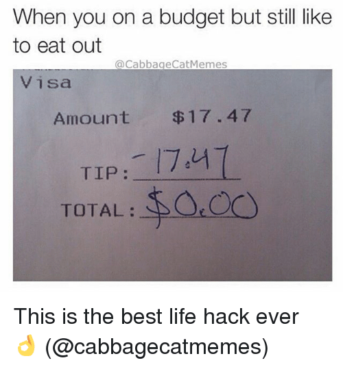 Best Life Hack: When you on a budget but still like  to eat out  @Cabbage Cat Memes  Visa  Amount $17.47  TIP  TOTAL This is the best life hack ever 👌 (@cabbagecatmemes)
