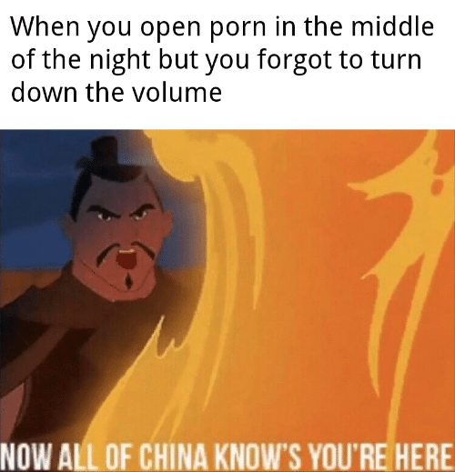 turn down: When you open porn in the middle  of the night but you forgot to turn  down the volume  NOW ALL OF CHINA KNOW'S YOU'RE HERE