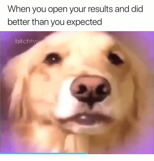 Open, Did, and You: When you open your results and did  better than you expected  bitchtw