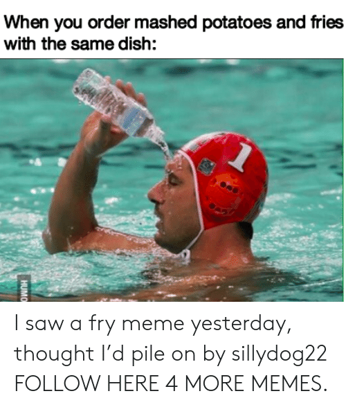 pile on: When you order mashed potatoes and fries  with the same dish:  HUMO I saw a fry meme yesterday, thought I'd pile on by sillydog22 FOLLOW HERE 4 MORE MEMES.
