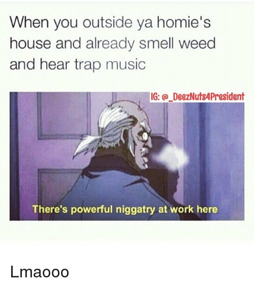 Homie, Trap, and Trapping: When you outside ya homie's  house and already smell weed  and hear trap music  IG: DeezNuts4President  There's powerful niggatry at work here Lmaooo