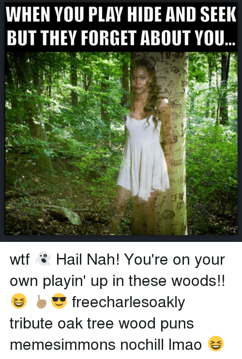 Wood Puns: WHEN YOU PLAY HIDE AND SEEK  BUT THEY FORGET ABOUT YOU wtf 👻 Hail Nah! You're on your own playin' up in these woods!! 😆 ☝🏽️😎 freecharlesoakly tribute oak tree wood puns memesimmons nochill lmao 😆
