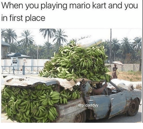 Funny, Mario Kart, and Mario: When you playing mario kart and you  in first place  @bildaddyy