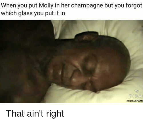 dank: When you put Molly in her champagne but you forgot  which glass you put it in  RTIDALXFAMO That ain't right