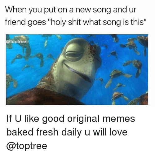 "Original Memes: When you put on a new song and ur  friend goes ""holy shit what song is this""  TopTree If U like good original memes baked fresh daily u will love @toptree"