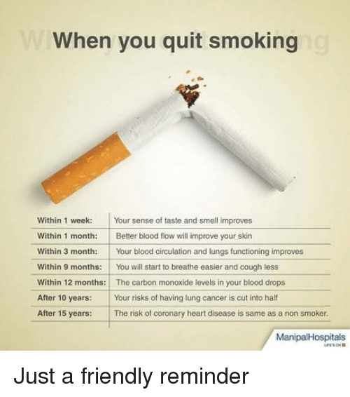 Circulation: When you quit smoking  Within 1 week Your sense of taste and smell improves  Within 1 month: Better blood flow will improve your skin  Within 3 month:Your blood circulation and lungs functioning improves  Within 9 months:You will start to breathe easier and cough less  Within 12 months: The carbon monoxide levels in your blood drops  After 10 years: Your risks of having lung cancer is cut into half  After 15 years: The risk of coronary heart disease is same as a non smoker.  ManipalHospitals Just a friendly reminder