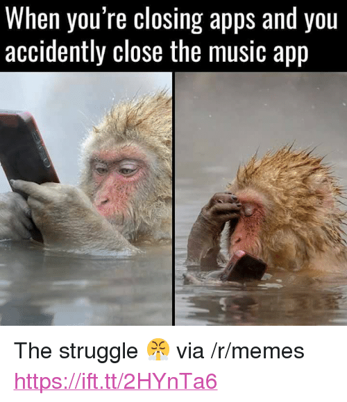"Memes, Music, and Struggle: When you re closing apps and you  accidently close the music app <p>The struggle 😤 via /r/memes <a href=""https://ift.tt/2HYnTa6"">https://ift.tt/2HYnTa6</a></p>"