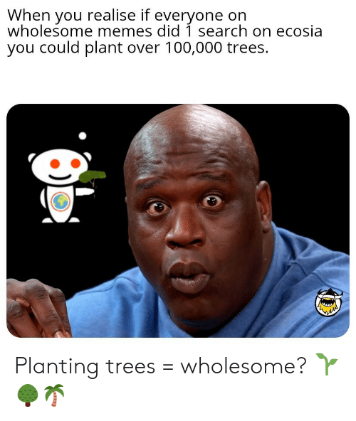 Wholesome Memes: When you realise if everyone on  wholesome memes did 1 search on ecosia  you could plant over 100,000 trees. Planting trees = wholesome? 🌱🌳🌴