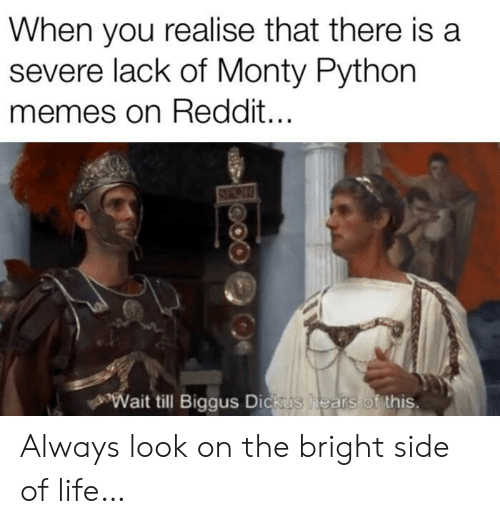 monty python: When you realise that there is a  severe lack of Monty Python  memes on Reddit...  Wait till Biggus Dickus  hears of this. Always look on the bright side of life…