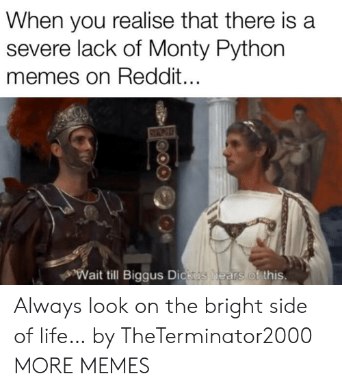 monty python: When you realise that there is a  severe lack of Monty Python  memes on Reddit...  Wait till Biggus Dickus  hears of this. Always look on the bright side of life… by TheTerminator2000 MORE MEMES