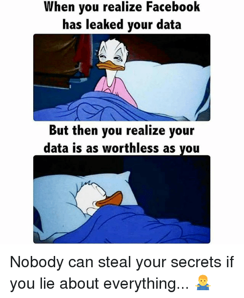 Facebook, Memes, and 🤖: When you realize Facebook  has leaked your data  But then you realize your  data is as worthless as you Nobody can steal your secrets if you lie about everything... 🤷‍♂️