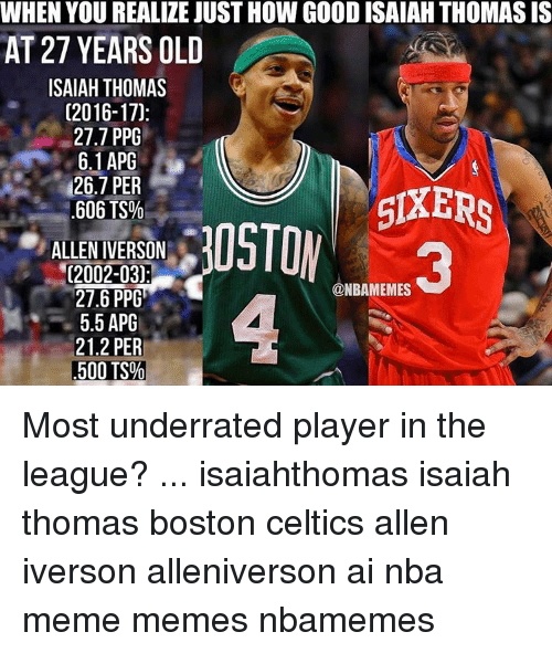 Allen Iverson, Boston Celtics, and Celtic: WHEN YOU REALIZE JUST HOW GOOD ISAIAH THOMAS IS  AT 27 YEARS OLD  ISAIAH THOMAS  (2016-17).  27.7 PPG  6.1 APG  126.7 PER  SIXERS  .606 TS%  ALLEN IVERSON  (2002-03)  @NBAMEMES  27.6 PPG  5.5 APG  21.2 PER  500 TS% Most underrated player in the league? ... isaiahthomas isaiah thomas boston celtics allen iverson alleniverson ai nba meme memes nbamemes