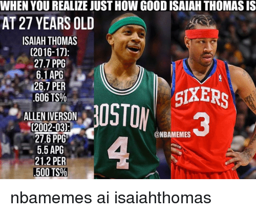 Allen Iverson, Basketball, and Nba: WHEN YOU REALIZE JUSTHOW GOOD ISAIAH THOMASIS  AT 27 YEARS OLD  ISAIAH THOMAS  (2016-170  27.7 PPG  6.1 APG  26.7 PER  SIXERS  606 TS%  ALLEN IVERSON  02002-03)  21.6 PPG  @NBAMEMES  5.5 APG  21.2 PER  500 TS% nbamemes ai isaiahthomas