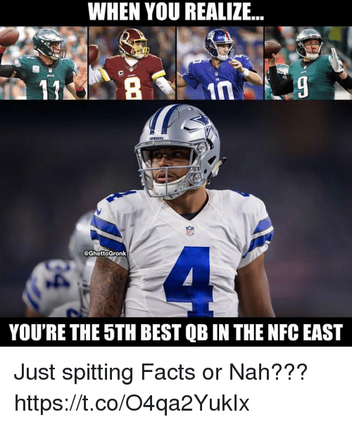 nfc east: WHEN YOU REALIZE...  OwOrs  @GhettoGronk  YOU'RE THE 5TH BEST QB IN THE NFC EAST Just spitting Facts or Nah??? https://t.co/O4qa2YukIx