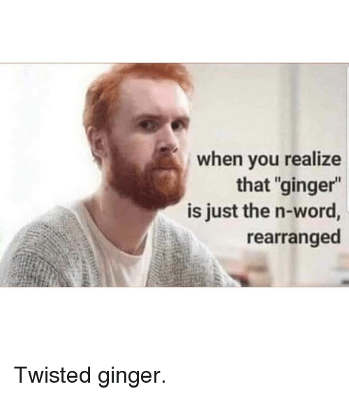 """Word, Twisted, and Ginger: when you realize  that """"ginger""""  is just the n-word,  rearranged"""