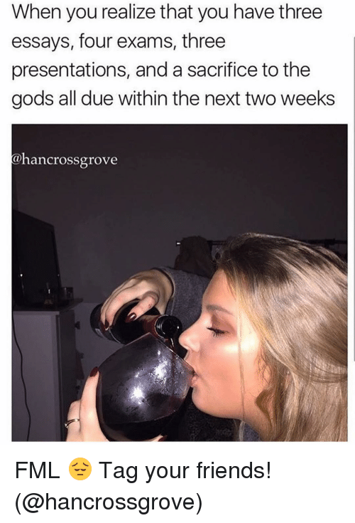 memes: When you realize that you have three  essays, four exams, three  presentations, anda sacrifice to the  gods all due within the next two weeks  @hancrossgrove FML 😔 Tag your friends! (@hancrossgrove)