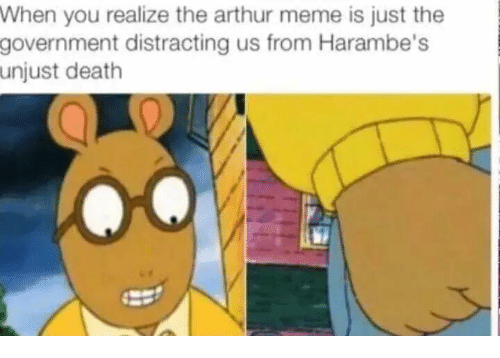 meme: When you realize the arthur meme is just the  government distracting us from Harambe's  unjust death
