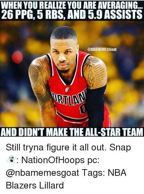 All Star, Memes, and The All: WHEN YOU REALIZE YOU ARE AVERAGING  26 PPG, 5 RBS, AND 5.9 ASSISTS  @NBAMEMESGoat  AND DIDNT MAKE THE ALL-STAR TEAM Still tryna figure it all out. Snap👻: NationOfHoops pc: @nbamemesgoat Tags: NBA Blazers Lillard