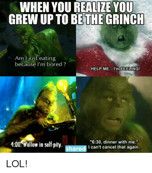 """wallowed in self pity: WHEN YOU REALIZE YOU  GREW UPTO BE THE  GRINCH  Am just eating  because I'm bored  HELP ME  m FEELING!  4:00 Wallow in self pity  """"6:30, dinner with me.""""  shared  I can't cancel that again. LOL!"""