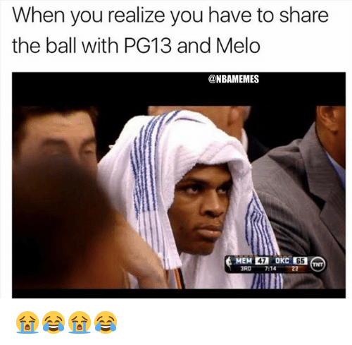 Nba, Tnt, and You: When you realize you have to share  the ball with PG13 and Melo  @NBAMEMES  47  65  TNT  RO 7:1422  AND 😭😂😭😂