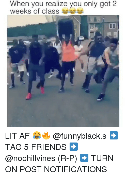 Af, Friends, and Lit: When you realize you only got 2  weeks of class LIT AF 😂🔥 @funnyblack.s ➡️ TAG 5 FRIENDS ➡️ @nochillvines (R-P) ➡️ TURN ON POST NOTIFICATIONS