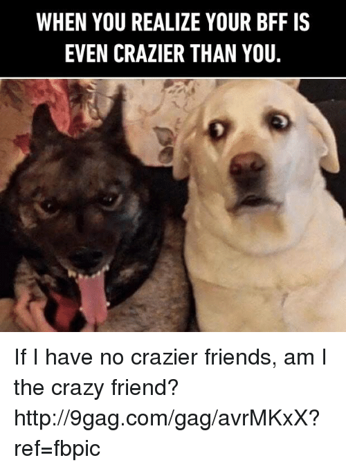 Dank, 🤖, and The Crazies: WHEN YOU REALIZE YOUR BFF IS  EVEN CRAZIER THAN YOU If I have no crazier friends, am I the crazy friend? http://9gag.com/gag/avrMKxX?ref=fbpic