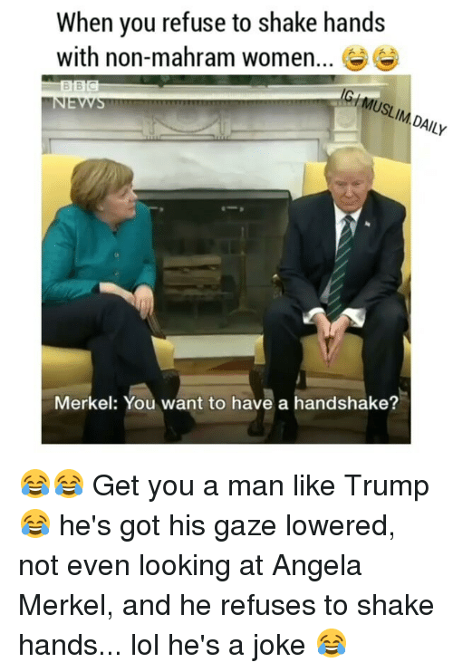 Image result for cartoons jokes of trump refuses to shake hands with german's merkel female leader in the white house 2017