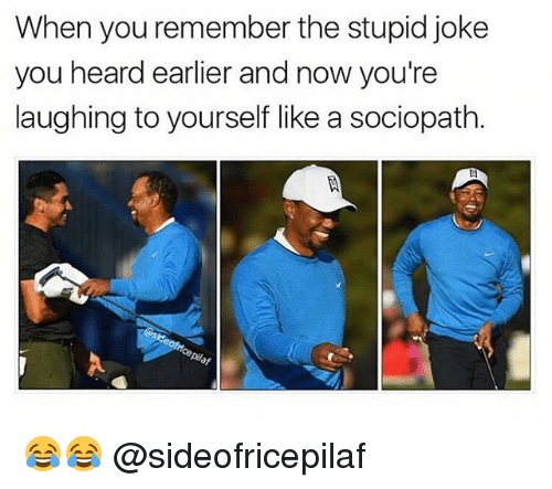 Stupidity Jokes: When you remember the stupid joke  you heard earlier and now you're  laughing to yourself like a sociopath  oie 😂😂 @sideofricepilaf