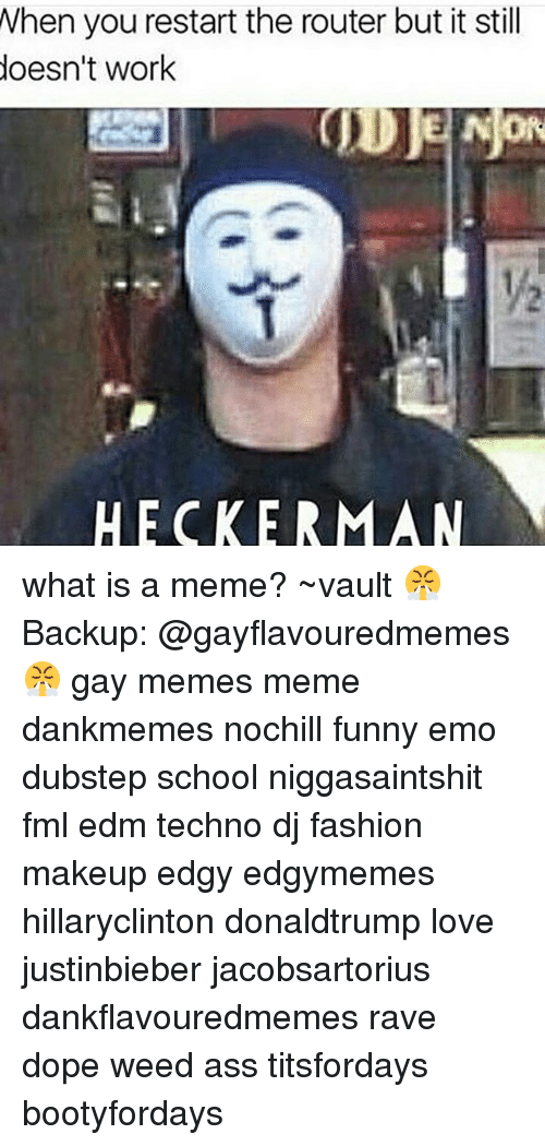 What Is A Memes: When you restart the router but it still  doesn't work  JDJE NOR  HECKER MAN what is a meme? ~vault 😤 Backup: @gayflavouredmemes 😤 gay memes meme dankmemes nochill funny emo dubstep school niggasaintshit fml edm techno dj fashion makeup edgy edgymemes hillaryclinton donaldtrump love justinbieber jacobsartorius dankflavouredmemes rave dope weed ass titsfordays bootyfordays