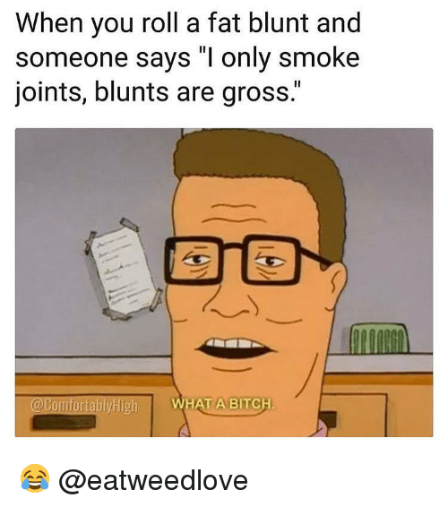 "joints: When you roll a fat blunt and  someone says ""I only smoke  joints, blunts are gross.""  @ComfortablyHigh  WHAT A BITCH 😂 @eatweedlove"