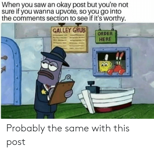 Comments Section: When you saw an okay post but you're not  sure if you wanna upvote, so you go into  the comments section to see if it's worthy  GALLEY GRUB  ORDER  HERE Probably the same with this post