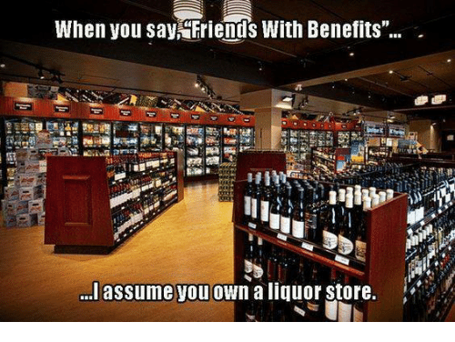 """Friends With Benefits: When you say  Friends With Benefits""""  lassume you own a liquor store."""