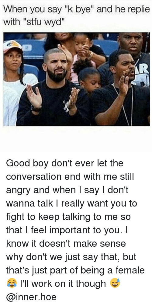 "Hoe, Memes, and Stfu: When you say ""k bye"" and he replie  with ""stfu wyd""  AR Good boy don't ever let the conversation end with me still angry and when I say I don't wanna talk I really want you to fight to keep talking to me so that I feel important to you. I know it doesn't make sense why don't we just say that, but that's just part of being a female 😂 I'll work on it though 😅 @inner.hoe"