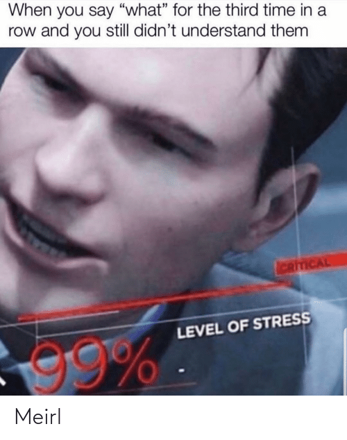 """say what: When you say """"what"""" for the third time in a  row and you still didn't understand them  ICRITICAL  LEVEL OF STRESS  99% Meirl"""