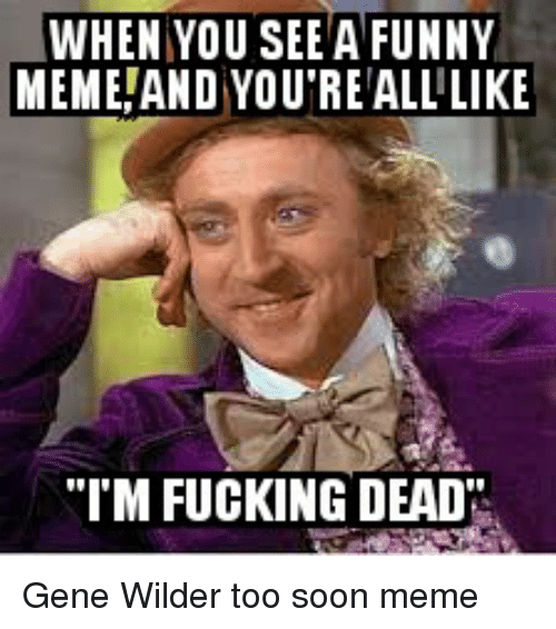 "Fucking, Funny, and Meme: WHEN YOU SEE A FUNNY  MEME AND YOU REALLLIKE  ""I'M FUCKING DEAD Gene Wilder too soon meme"