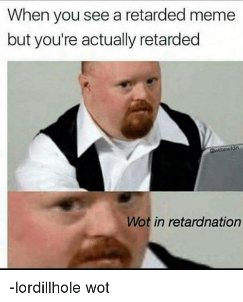 retard meme: When you see a retarded meme  but you're actually retarded  Wot in retardnation -lordillhole wot