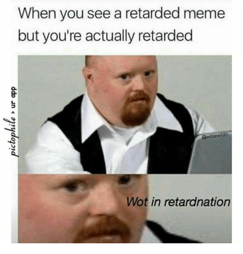 retard meme: When you see a retarded meme  but you're actually retarded  Wot in retardnation