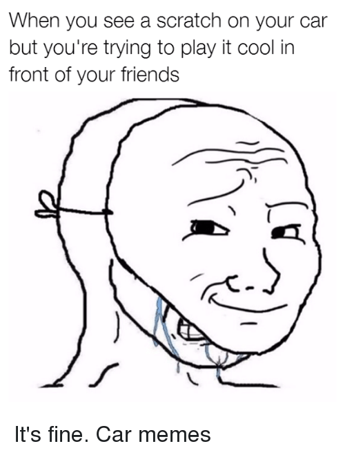 Cars, Friends, and Memes: When you see a scratch on your car  but you're trying to play it cool in  front of your friends It's fine. Car memes