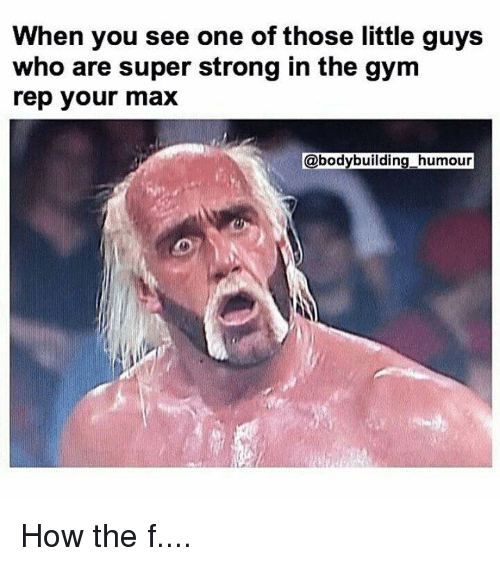 Gym, Bodybuilding, and Strong: When you see one of those little guys  who are super strong in the gym  rep your max  bodybuilding humour How the f....