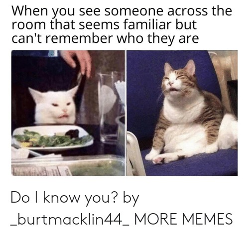 Do I Know You: When you see someone across the  room that seems familiar but  can't remember who they Do I know you? by _burtmacklin44_ MORE MEMES