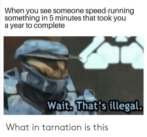 What In Tarnation: When you see someone speed-running  something in 5 minutes that took you  a year to complete  Wait, That's illegal. What in tarnation is this