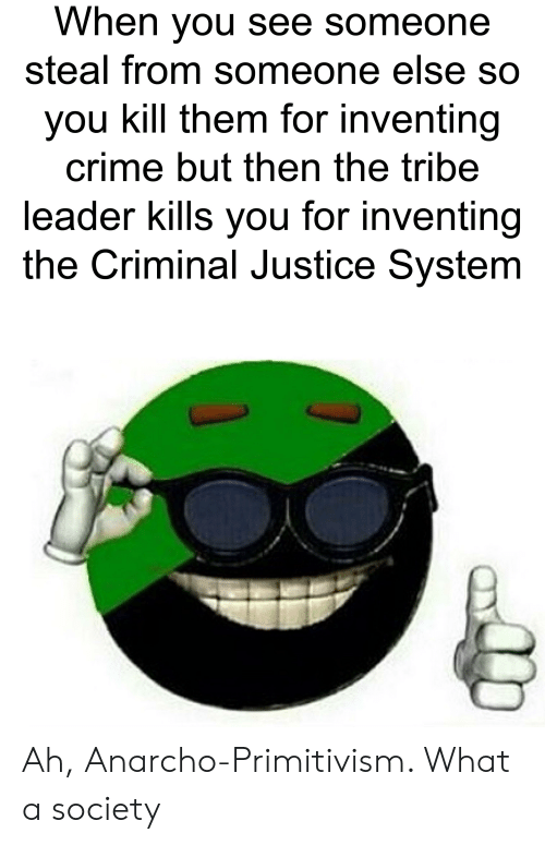 Anarcho Primitivism: When you see someone  steal from someone else so  you kill them for inventing  crime but then the tribe  leader kills you for inventing  the Criminal Justice System Ah, Anarcho-Primitivism. What a society