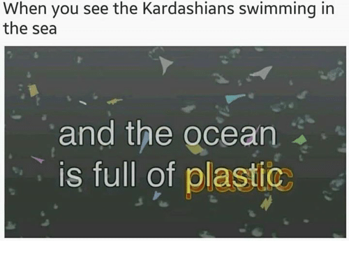 Kardashians, Ocean, and Swimming: When you see the Kardashians swimming in  the sea  and the ocean  is full of plastic