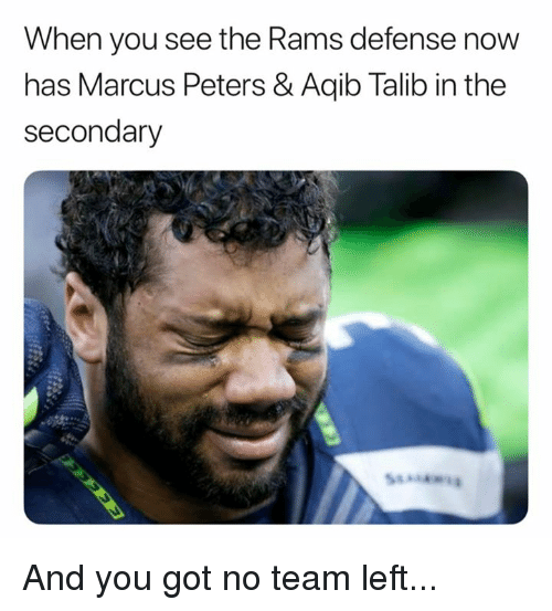 Aqib Talib: When you see the Rams defense now  has Marcus Peters & Aqib Talib in the  secondary And you got no team left...