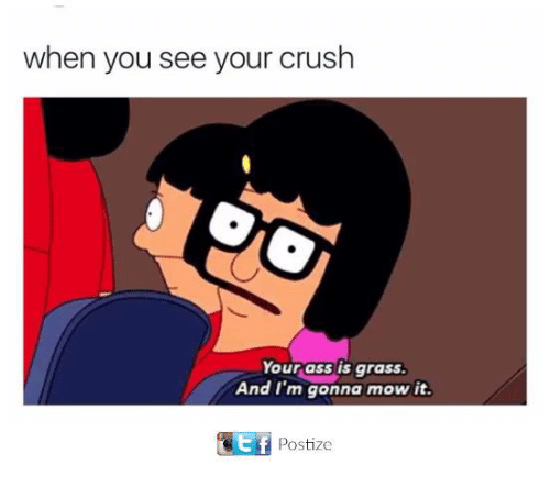 Ass, Crush, and Funny: when you see your crush  Your ass is grasS  And I'm gonna mow it.  e f  Postize
