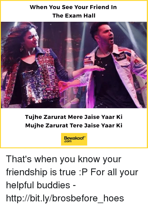 Hoes, Memes, and True: When You See Your Friend In  The Exam Hall  Tujhe Zarurat Mere Jaise Yaar Ki  Mujhe Zarurat Tere Jaise Yaar Ki  Bewakoof  .com That's when you know your friendship is true :P  For all your helpful buddies - http://bit.ly/brosbefore_hoes