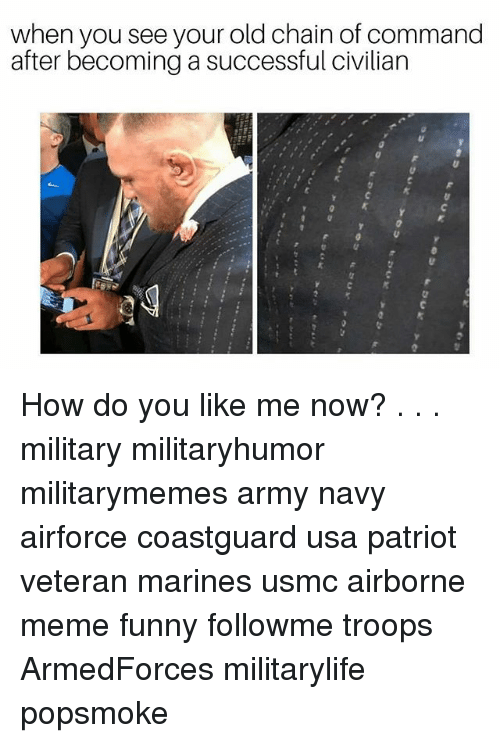 Chain Of Command: when you see your old chain of command  after becoming a successful civilian How do you like me now? . . . military militaryhumor militarymemes army navy airforce coastguard usa patriot veteran marines usmc airborne meme funny followme troops ArmedForces militarylife popsmoke