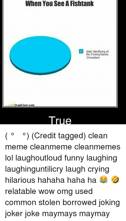 Graph Jam: When You SeeAFishtank  Start identifying all  the Finding Nemo  Characters  Graph Jam.com ( ͡° ͜ʖ ͡°) (Credit tagged) clean meme cleanmeme cleanmemes lol laughoutloud funny laughing laughinguntilicry laugh crying hilarious hahaha haha ha 😂 🤣 relatable wow omg used common stolen borrowed joking joker joke maymays maymay