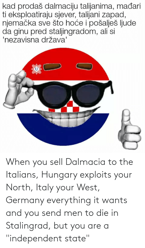 """italians: When you sell Dalmacia to the Italians, Hungary exploits your North, Italy your West, Germany everything it wants and you send men to die in Stalingrad, but you are a """"independent state"""""""